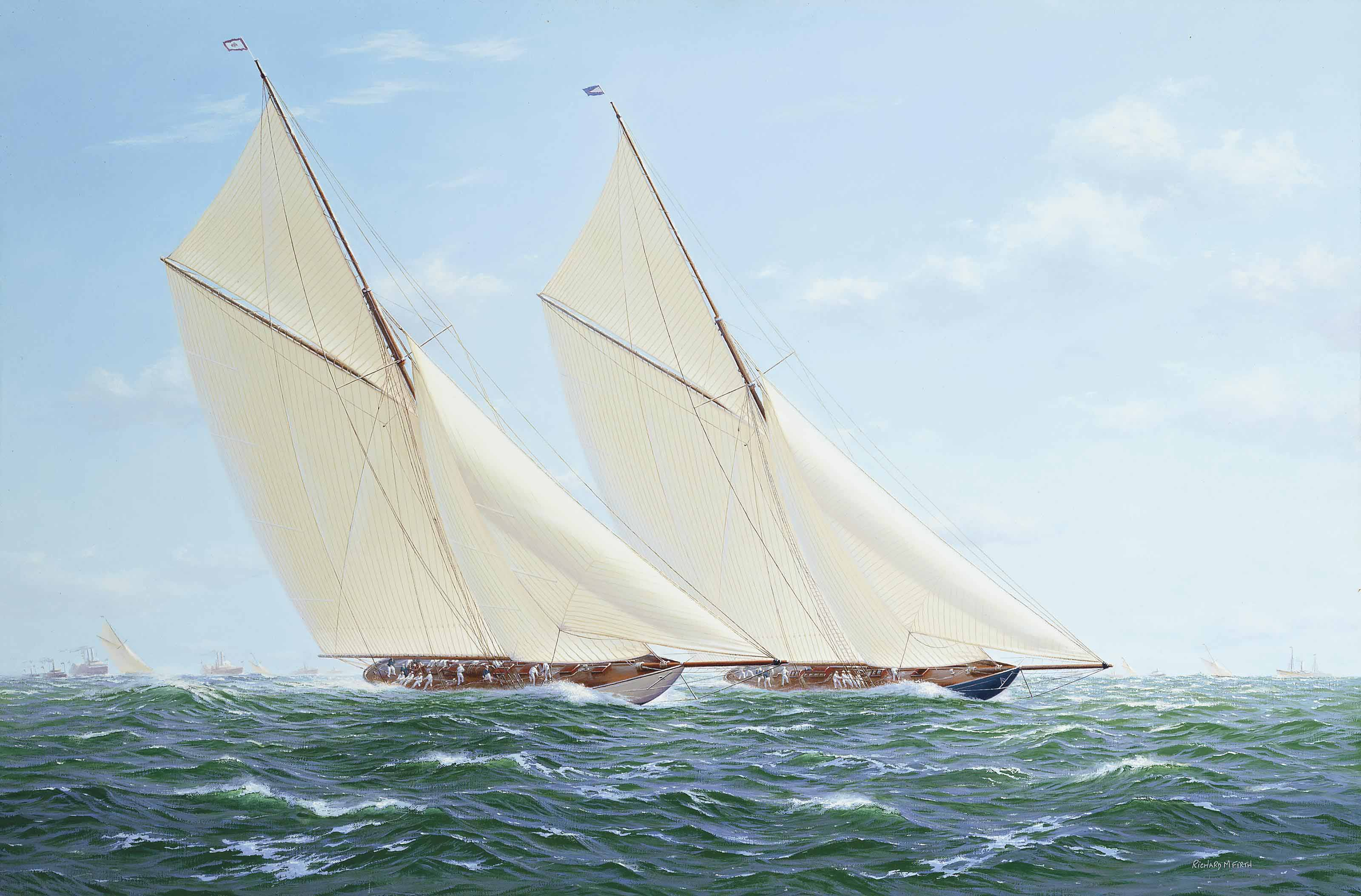 Vigilant and Valkyrie II on the windward leg, America's Cup, 1893