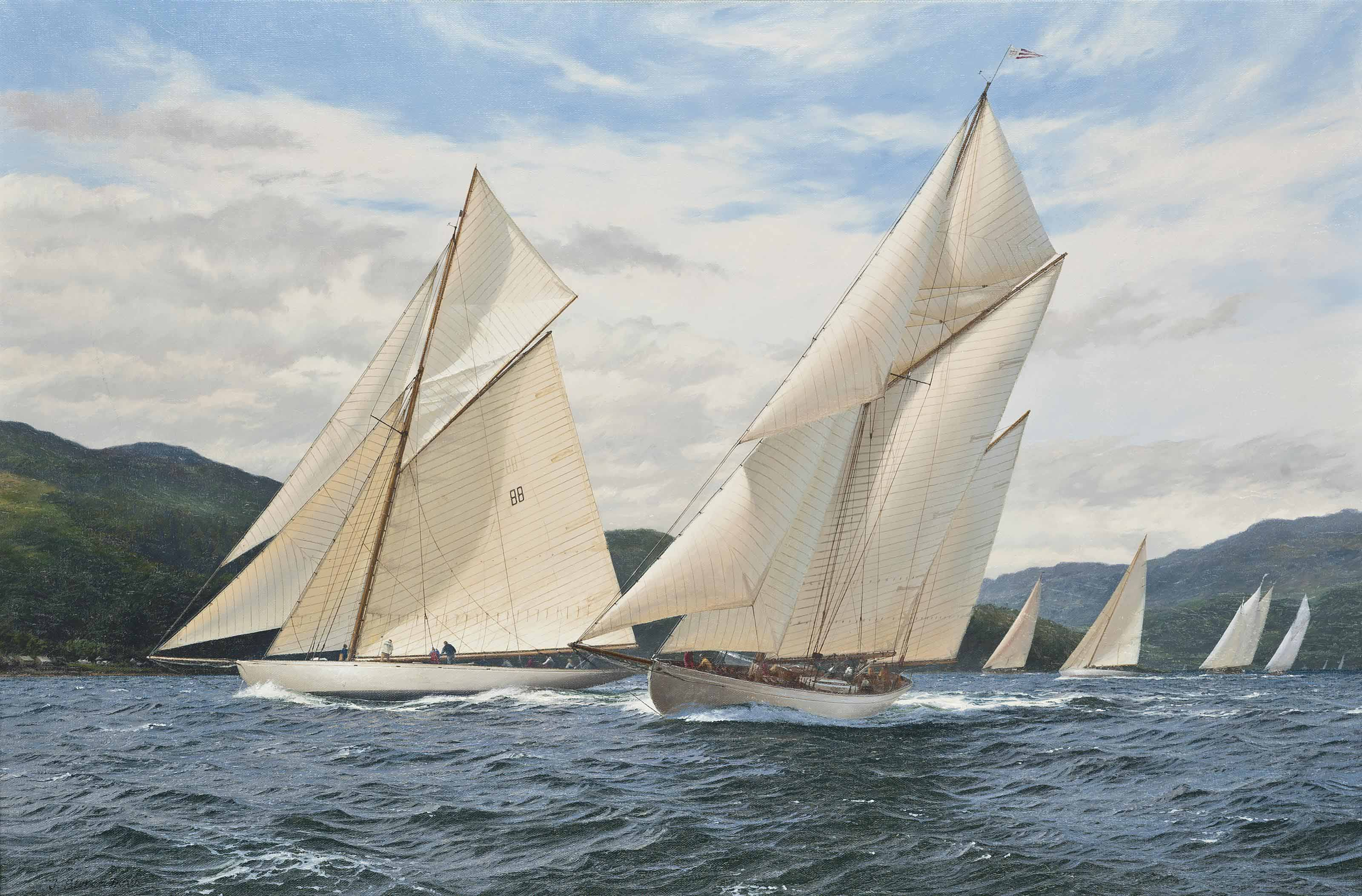 Moonbeam and Kentra on the windward leg, the Clyde