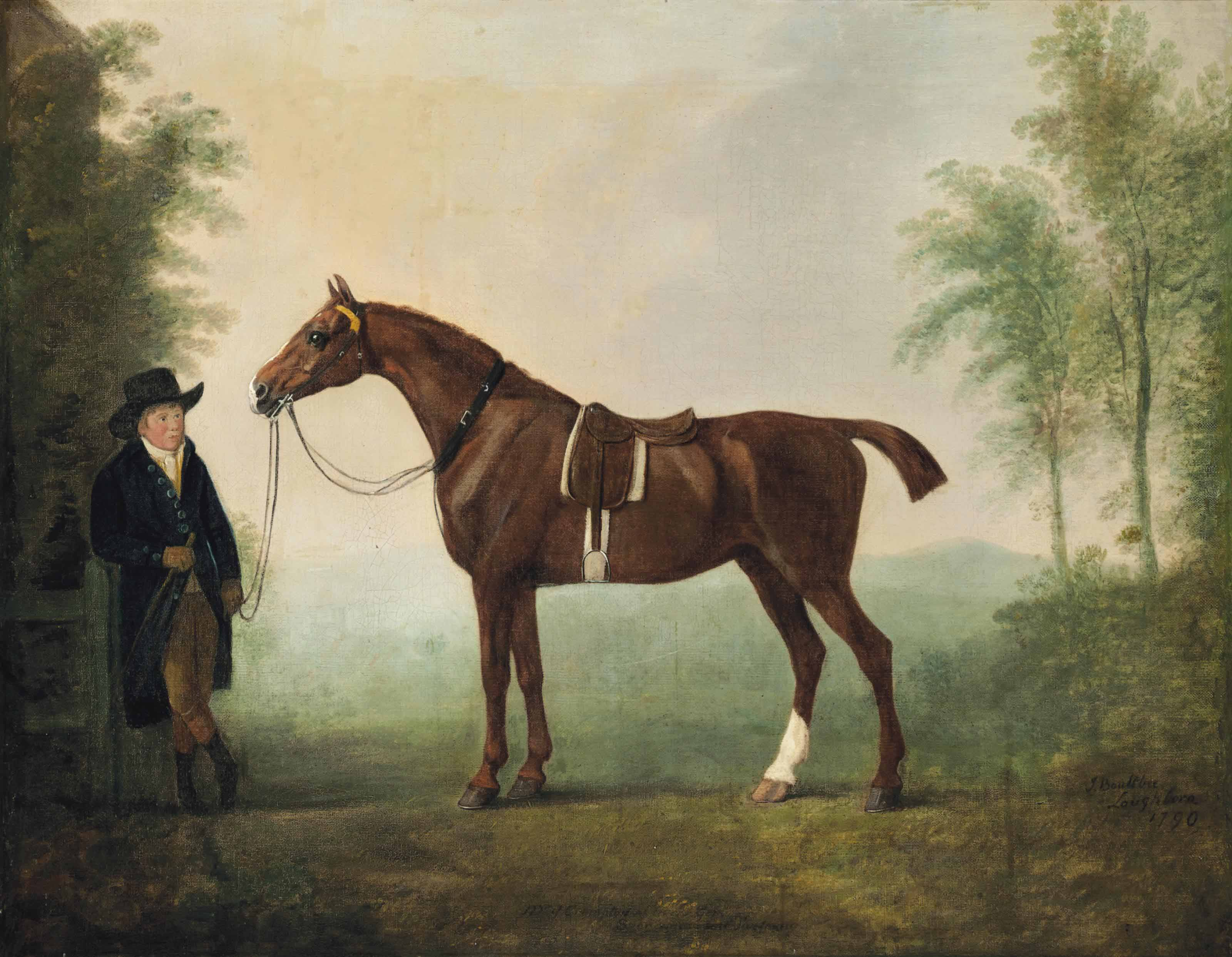 A saddled chestnut hunter and groom