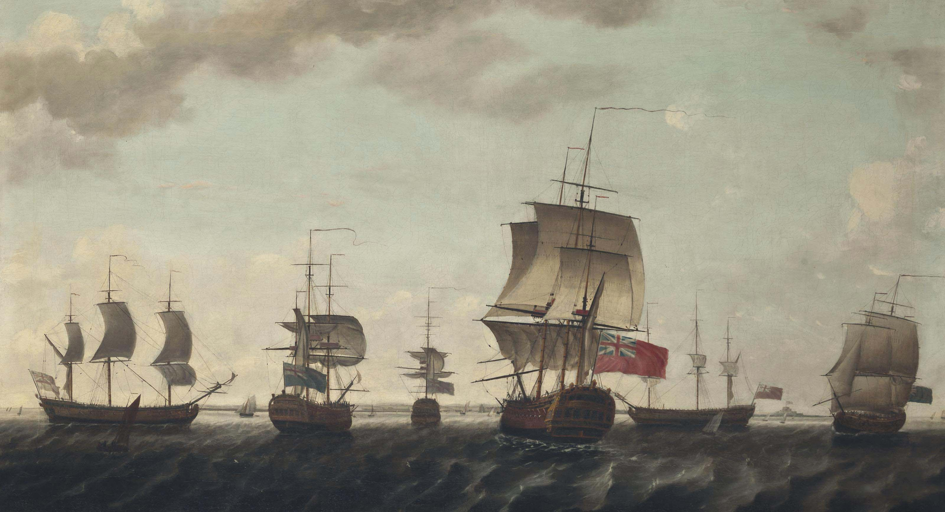 East Indiamen, including the Triton and the Egmont, and their escorts forming up into a convoy in the Channel and making ready for their journey eastwards to India and China