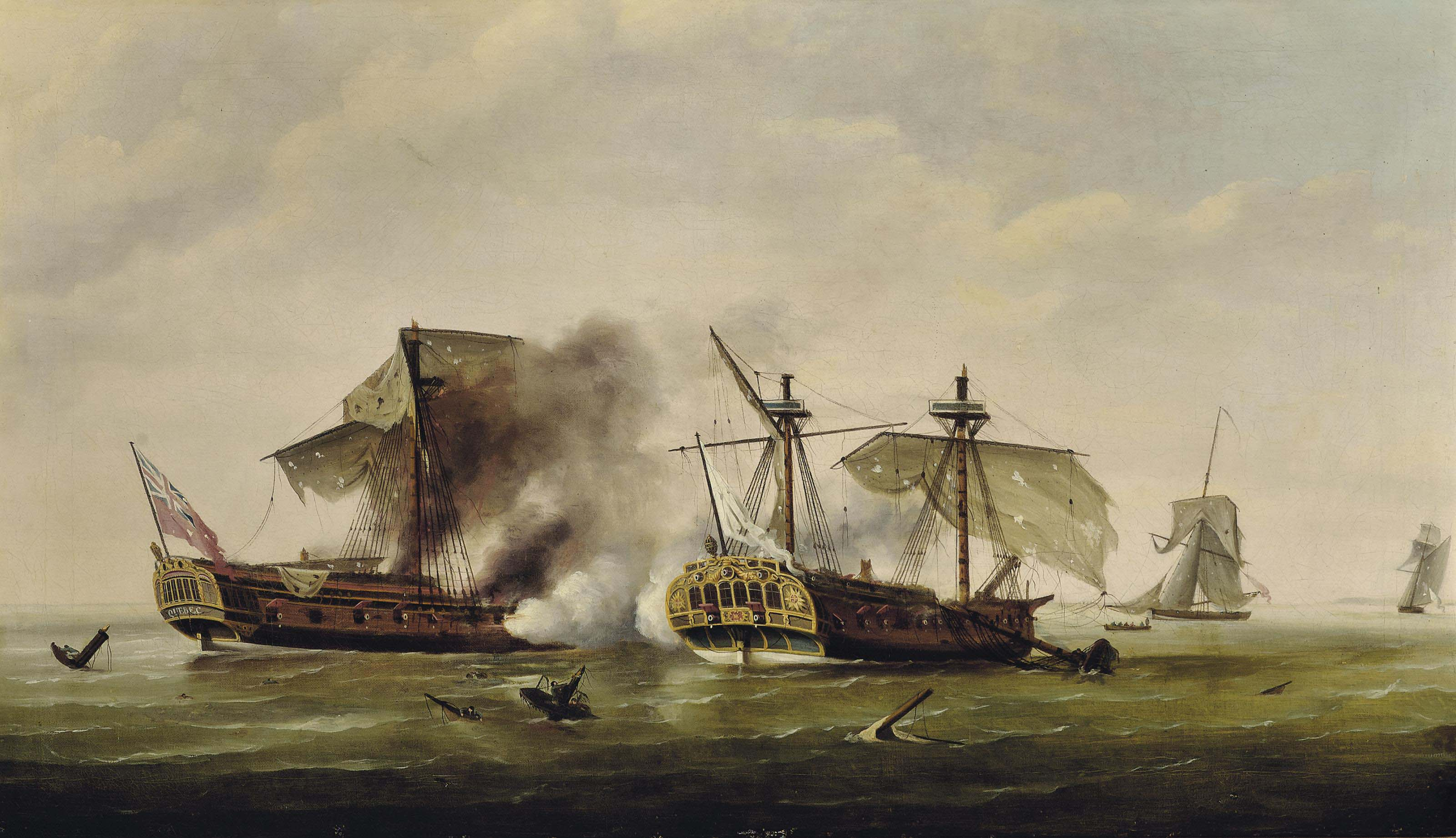 H.M.S. Quebec ablaze at the end of her epic struggle with the French frigate Surveillante, 6 October 1779