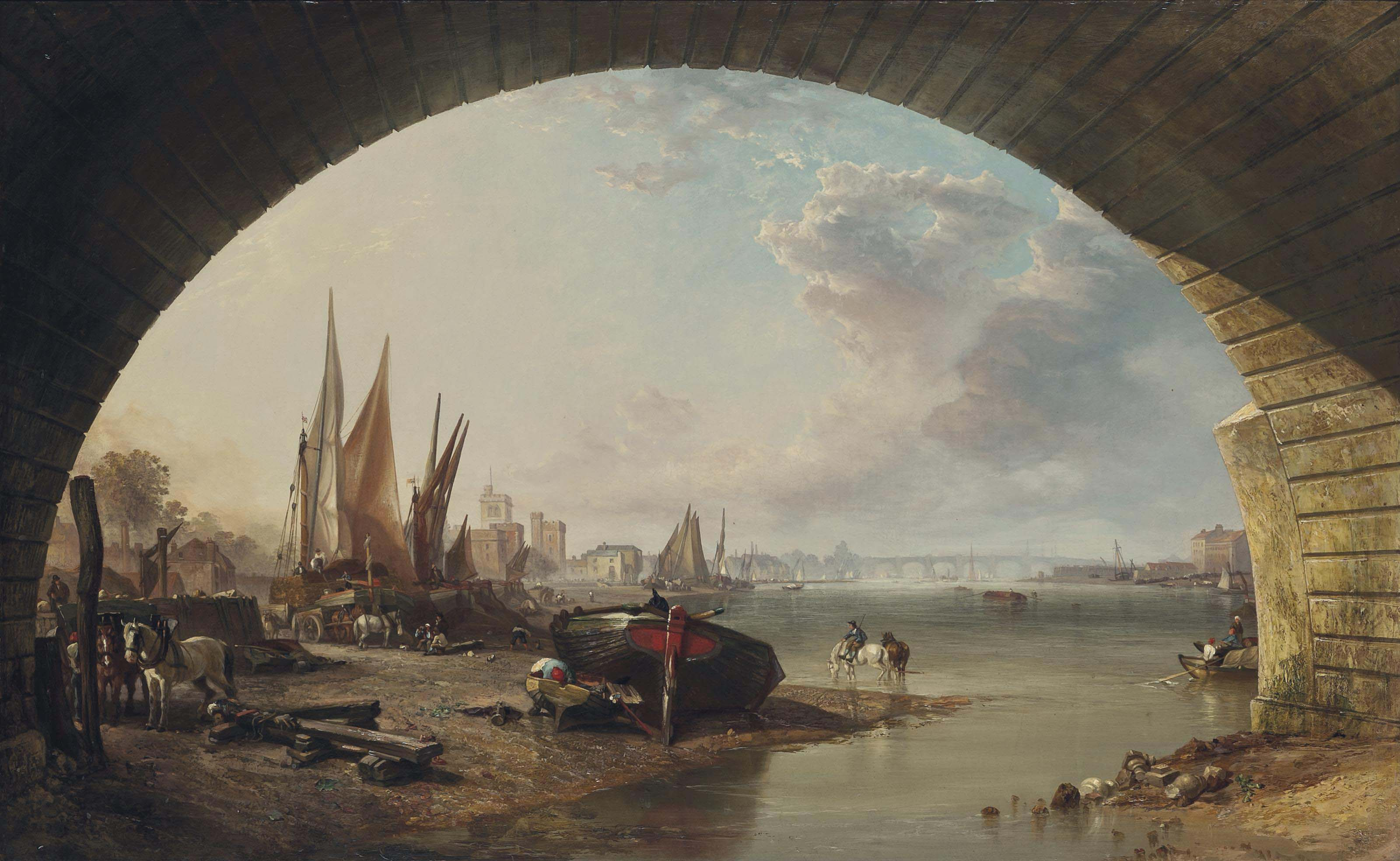 Looking towards Old Vauxhall Bridge, from under an arch of Westminster Bridge, London