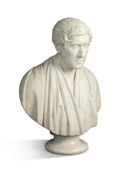 A SCOTTISH WHITE MARBLE BUST O