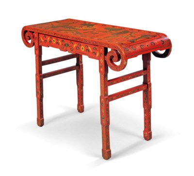 A CHINESE RED LACQUER SIDE TAB