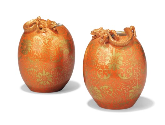 A PAIR OF CHINESE CORAL-GLAZED