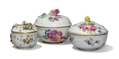TWO MEISSEN SUGAR BOWLS AND CO