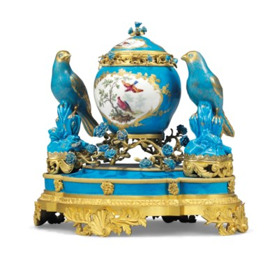 A FRENCH ORMOLU-MOUNTED BLEU C