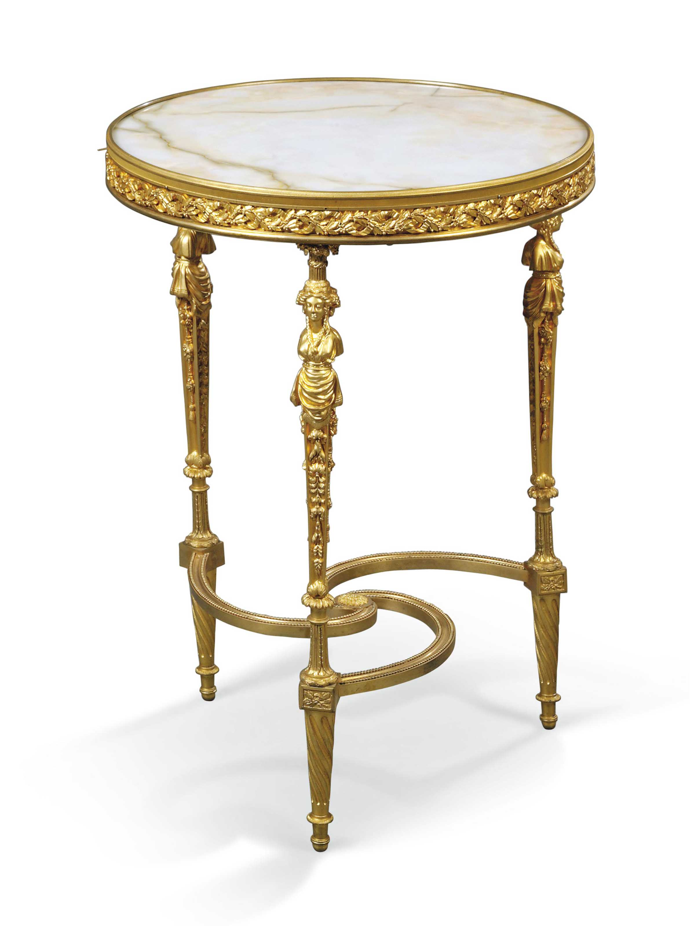 A FRENCH ORMOLU AND ONYX GUERI