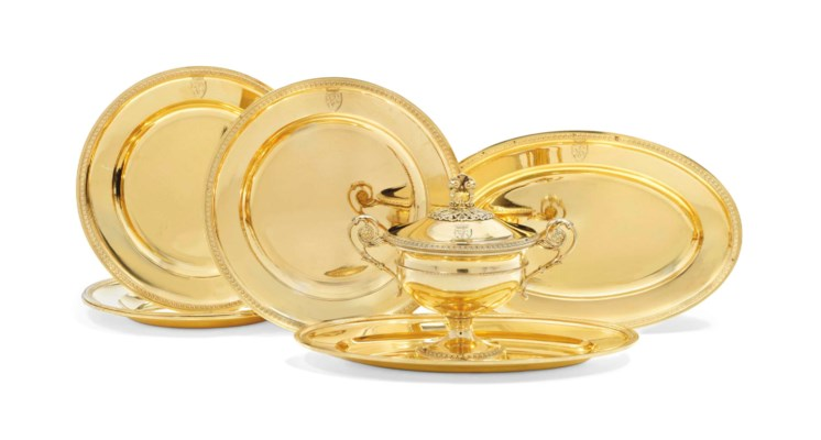 A FRENCH SILVER-GILT DINNER SE