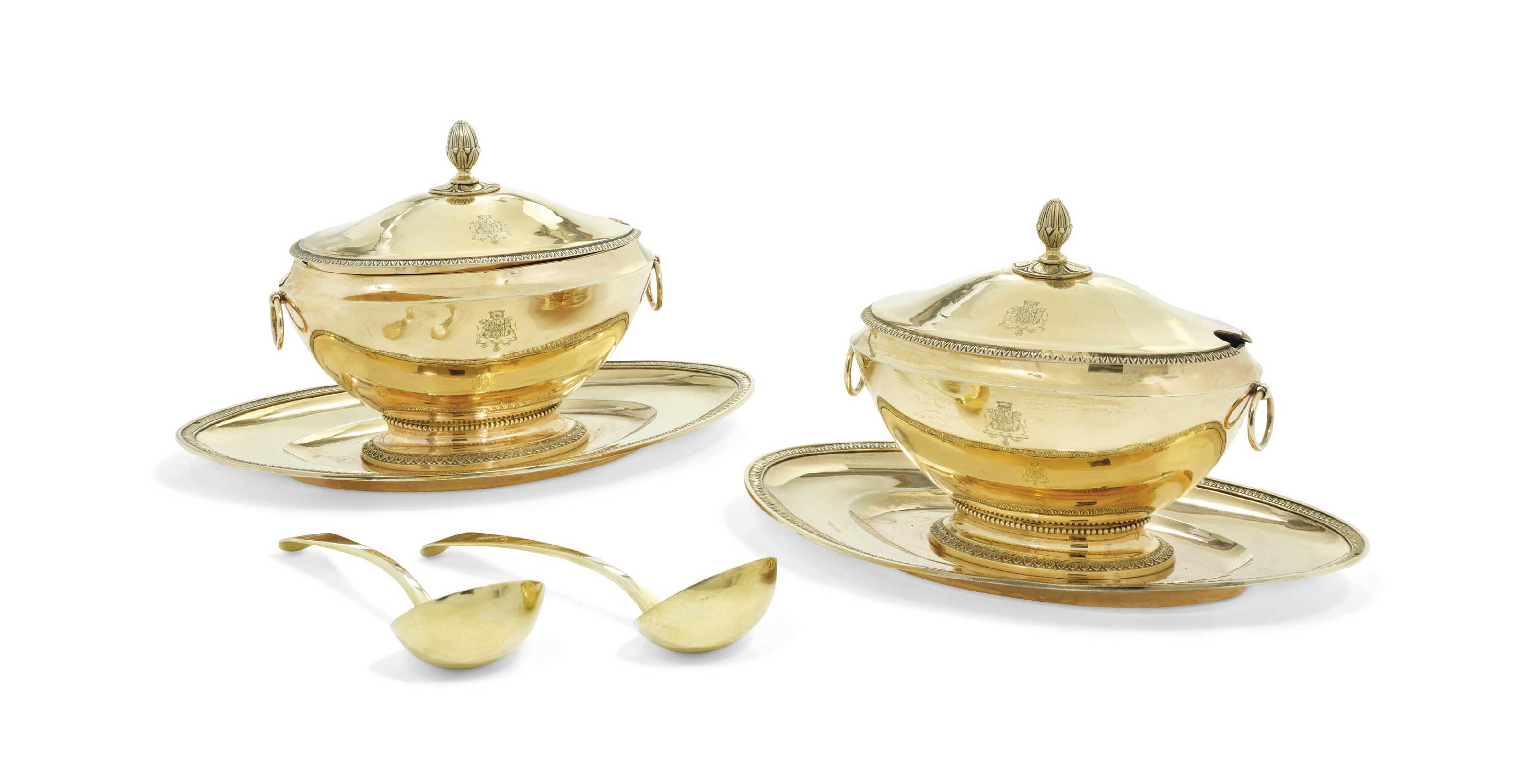 A FRENCH PAIR OF SILVER-GILT S