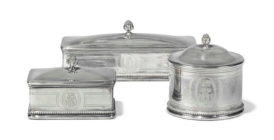 THREE FRENCH SILVER DRESSING-T