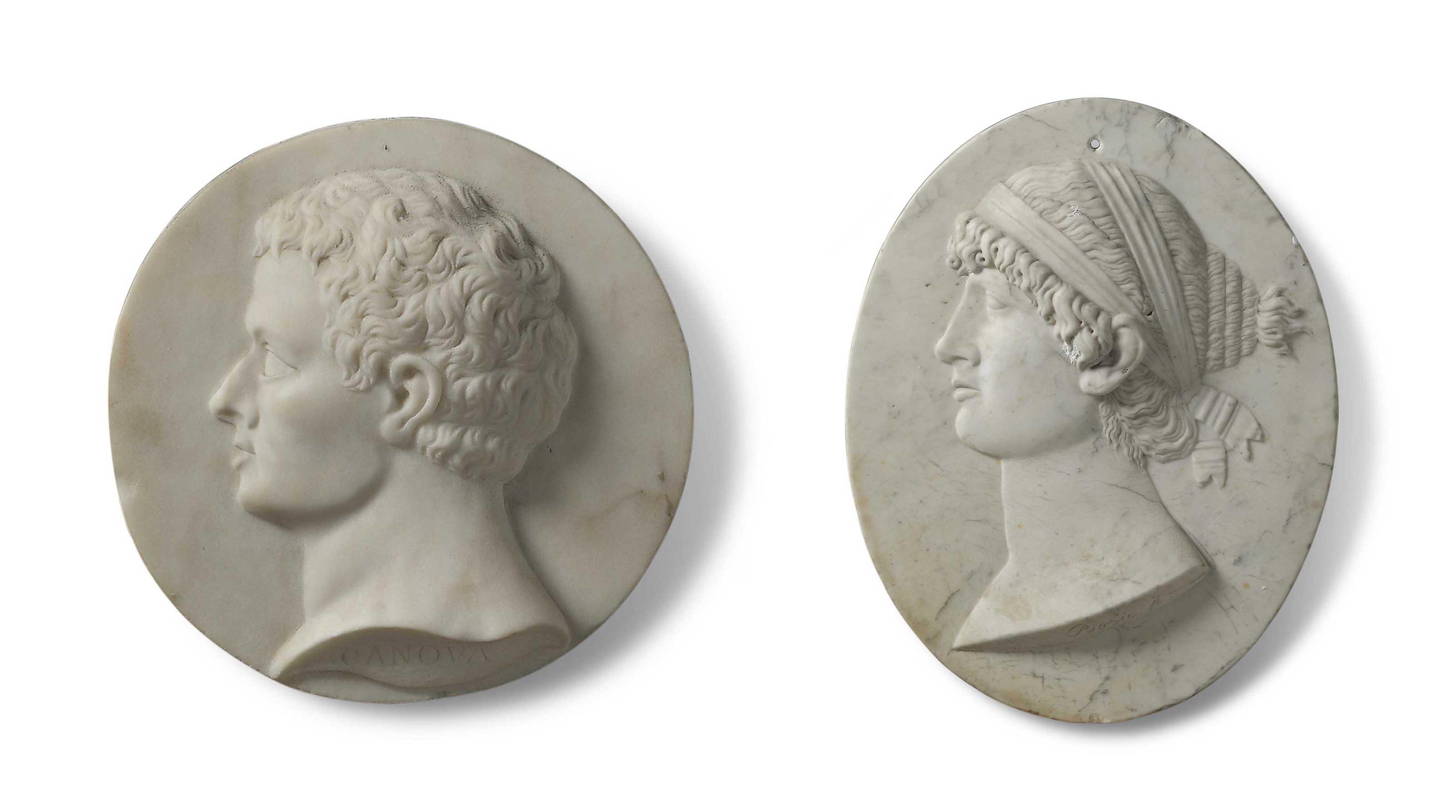 A WHITE MARBLE PORTRAIT RELIEF PLAQUE OF SAPPHO | AFTER FRANCOIS