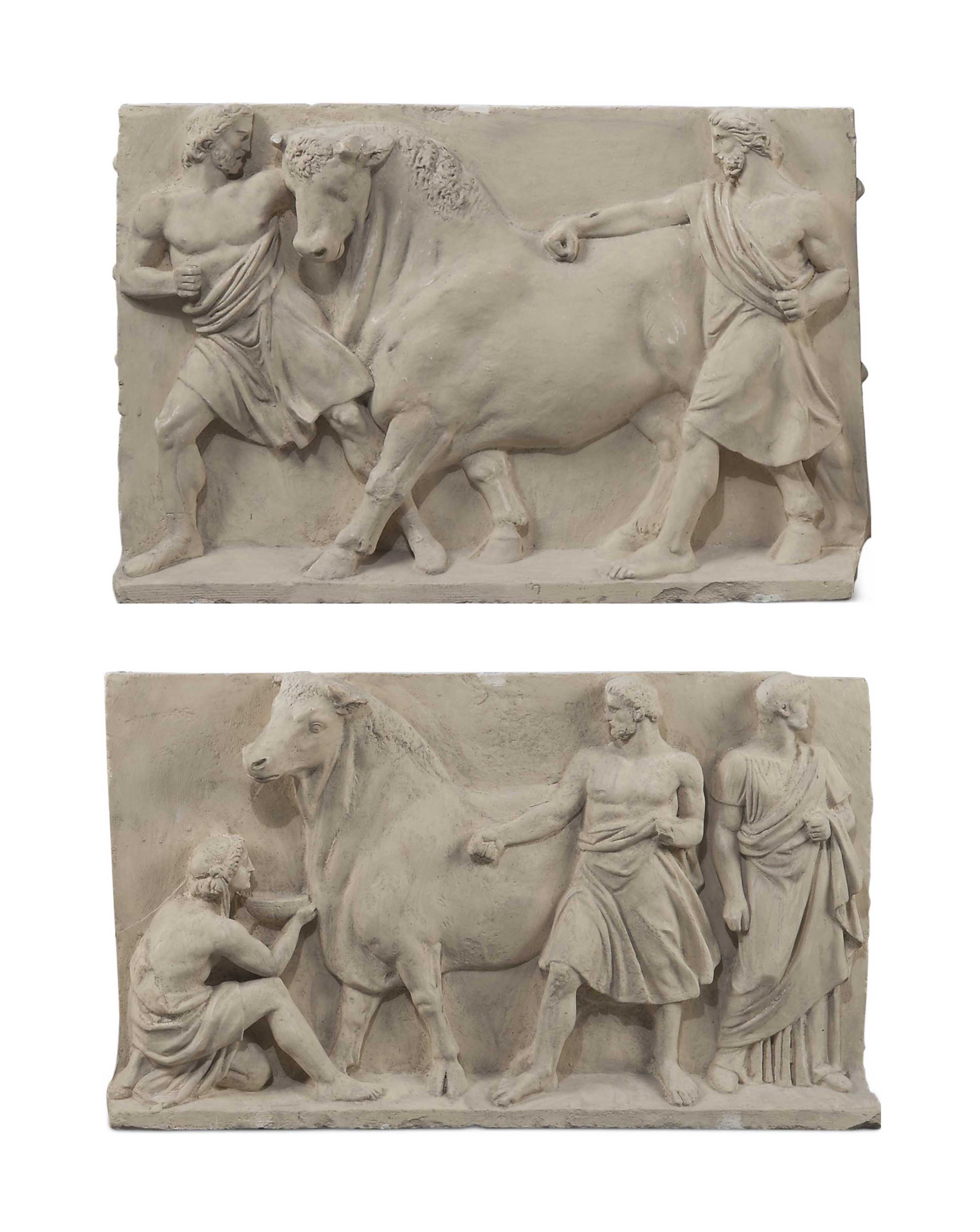 TWO CLASSICAL PLASTER RELIEFS
