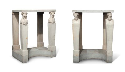 TWO WHITE MARBLE CONSOLE TABLE