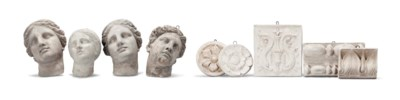 FOUR PLASTER CLASSICAL HEADS