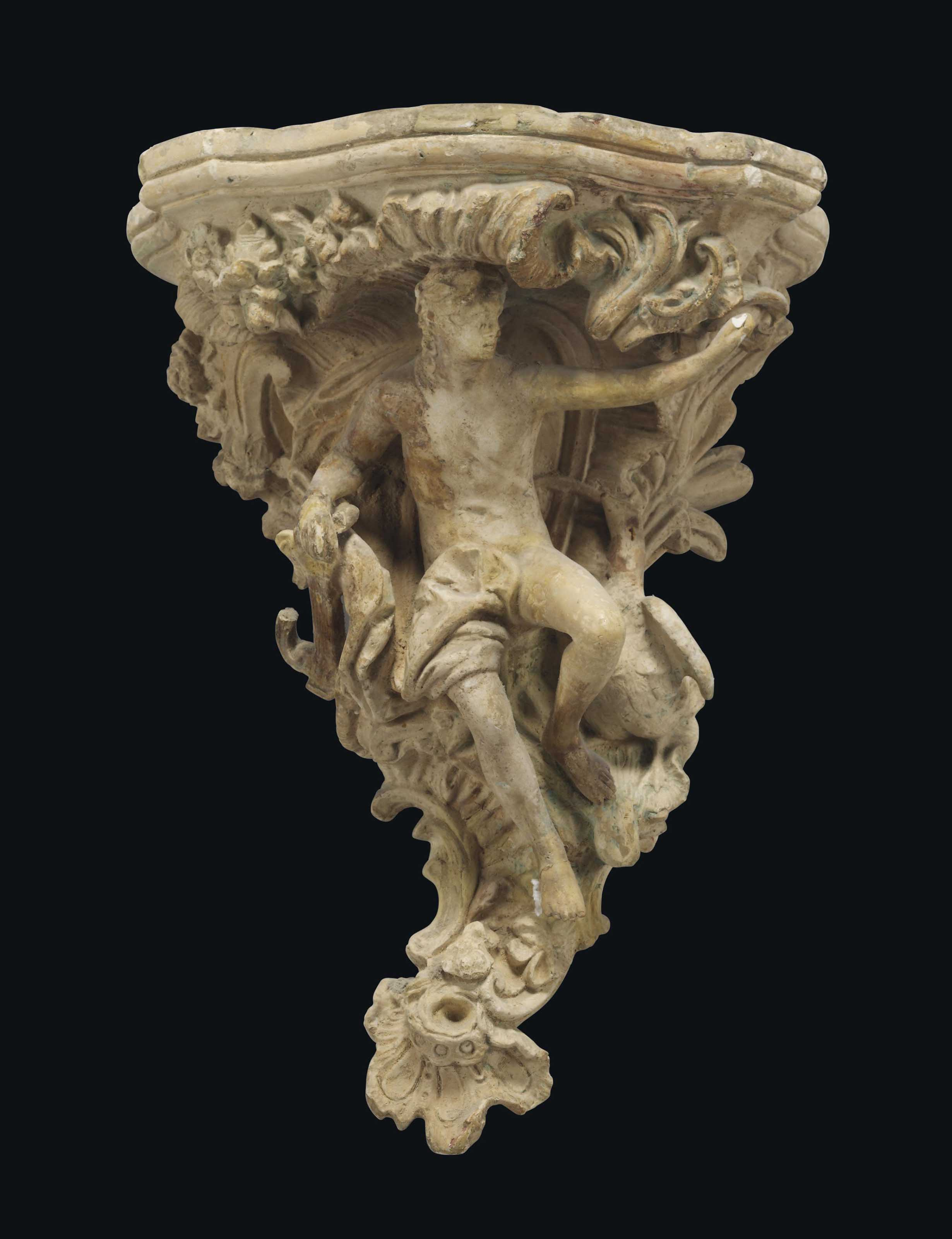 A PLASTER BRACKET OF APOLLO