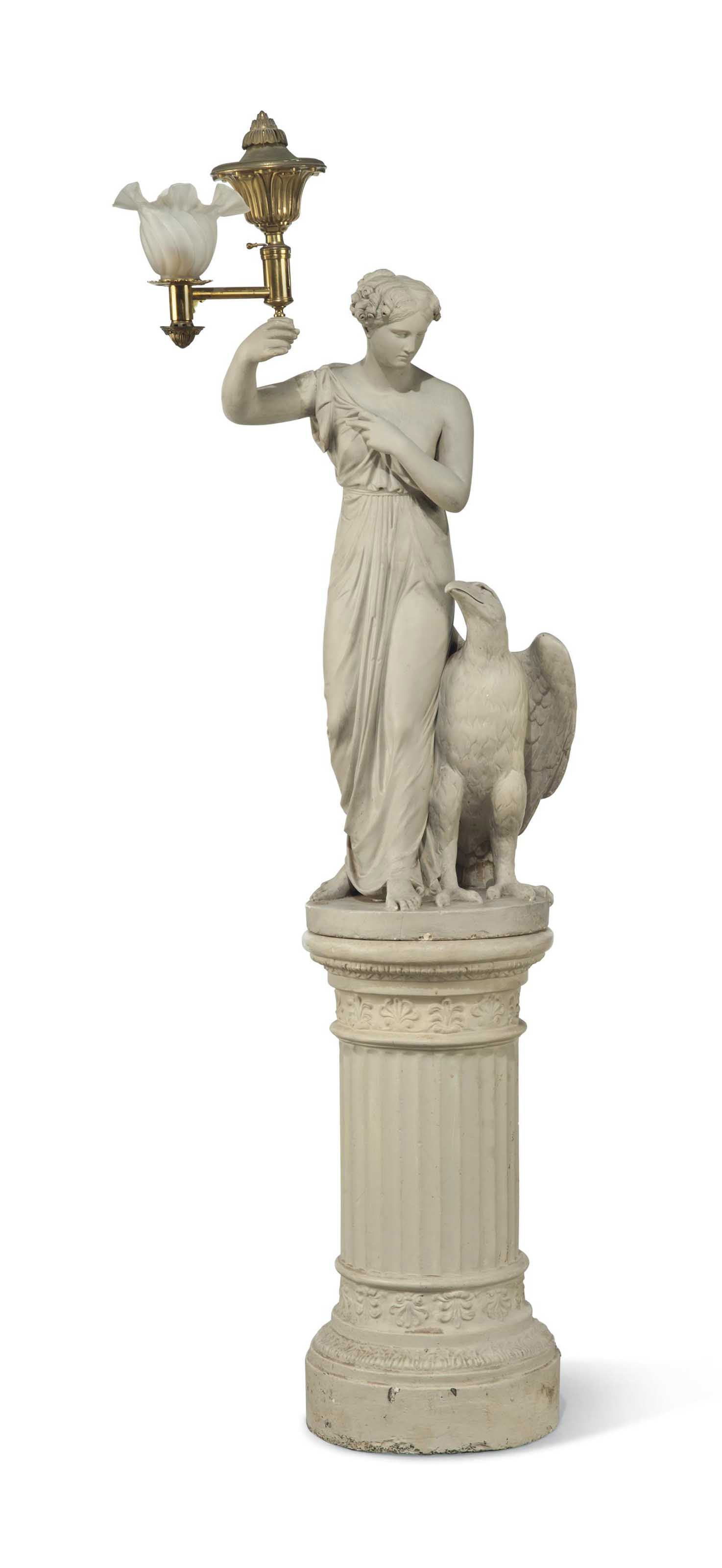 A REGENCY PLASTER FIGURAL TORCHERE OF HEBE