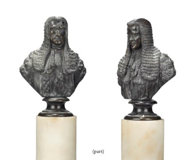 TWO BRONZE BUSTS OF JUDGES