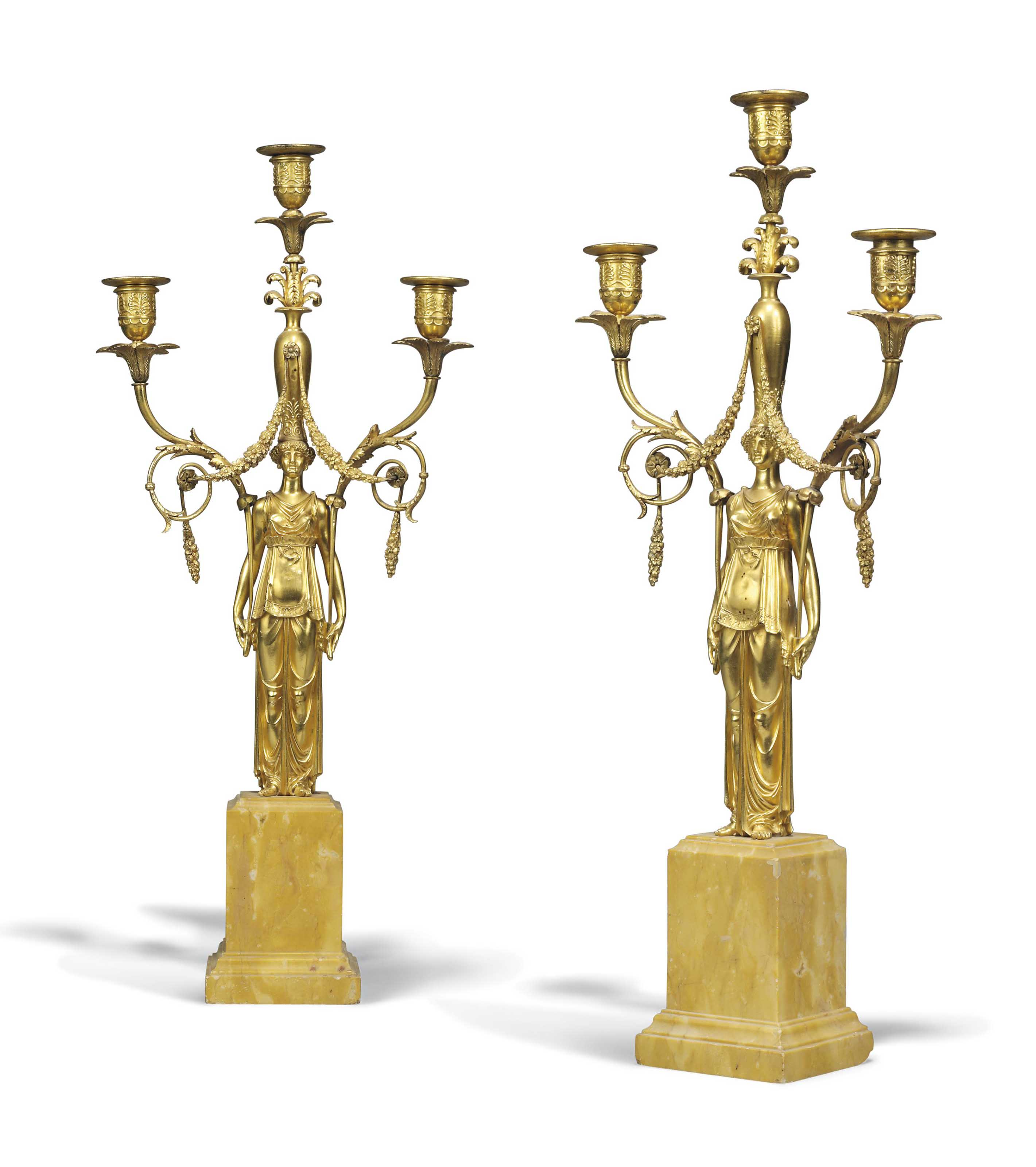A PAIR OF EMPIRE ORMOLU AND SI