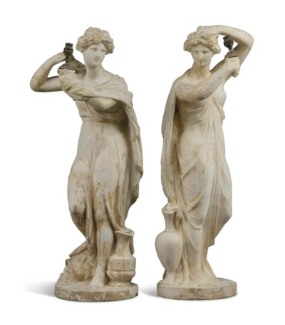 A PAIR OF REGENCY PLASTER FIGU