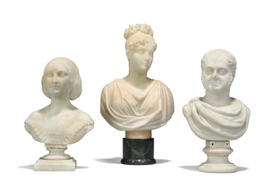 AN ALABASTER BUST OF QUEEN CHA