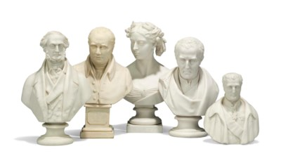 FIVE ENGLISH PORCELAIN BUSTS