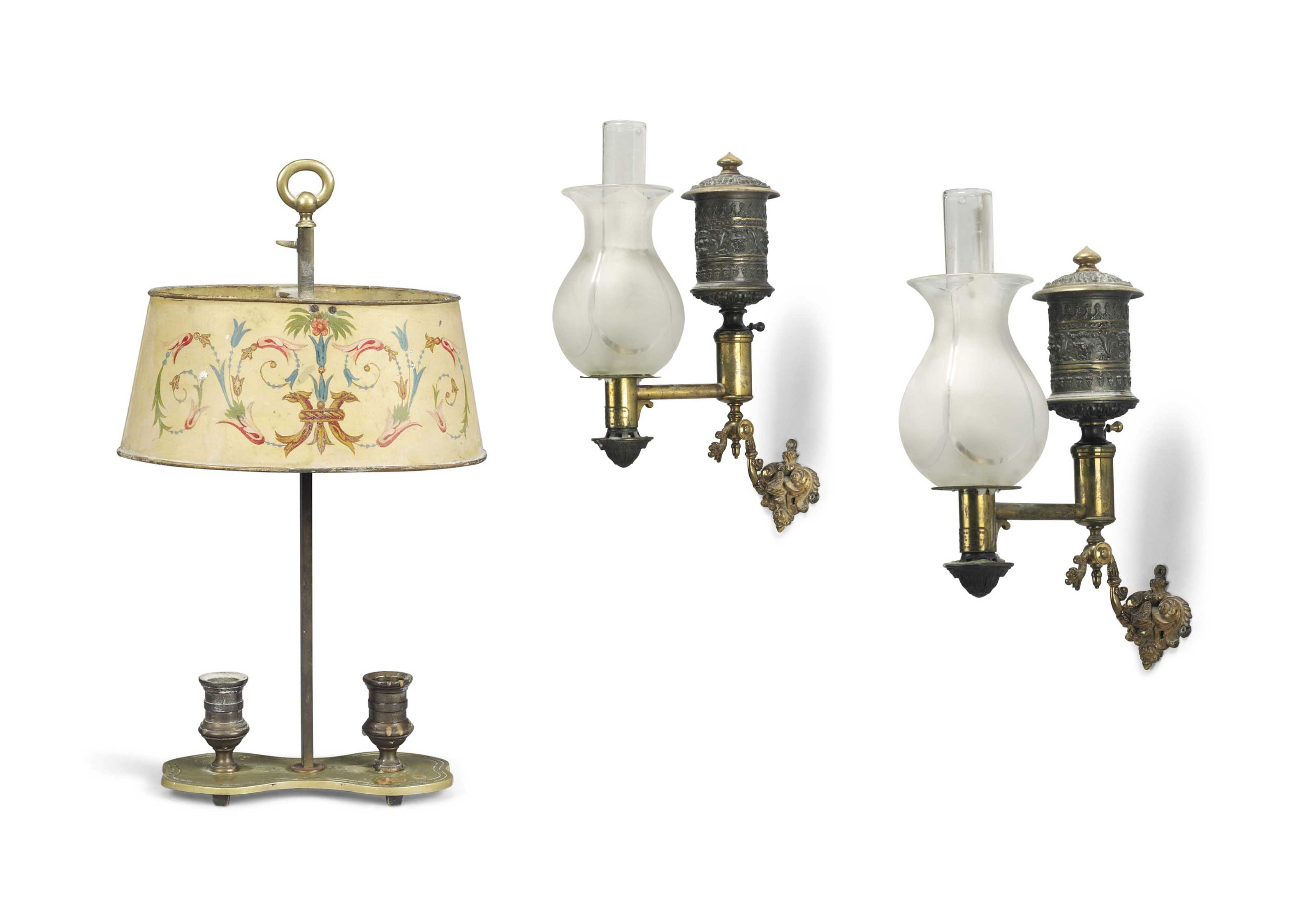 A PAIR OF GEORGE IV PATINATED BRONZE AND BRASS WALL LIGHTS