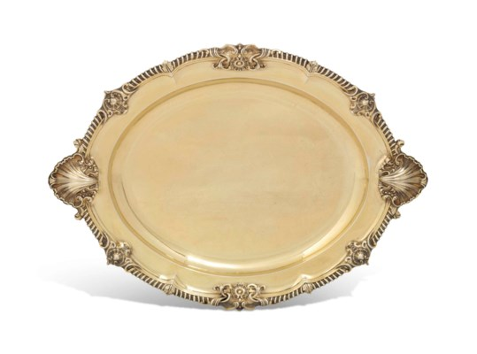 A VICTORIAN SILVER-GILT MEAT-D