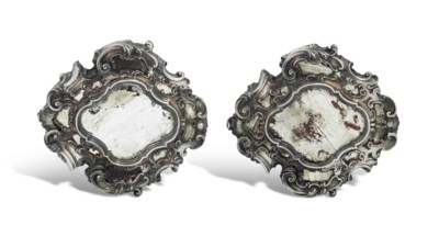 A PAIR OF ITALIAN SILVER-MOUNT
