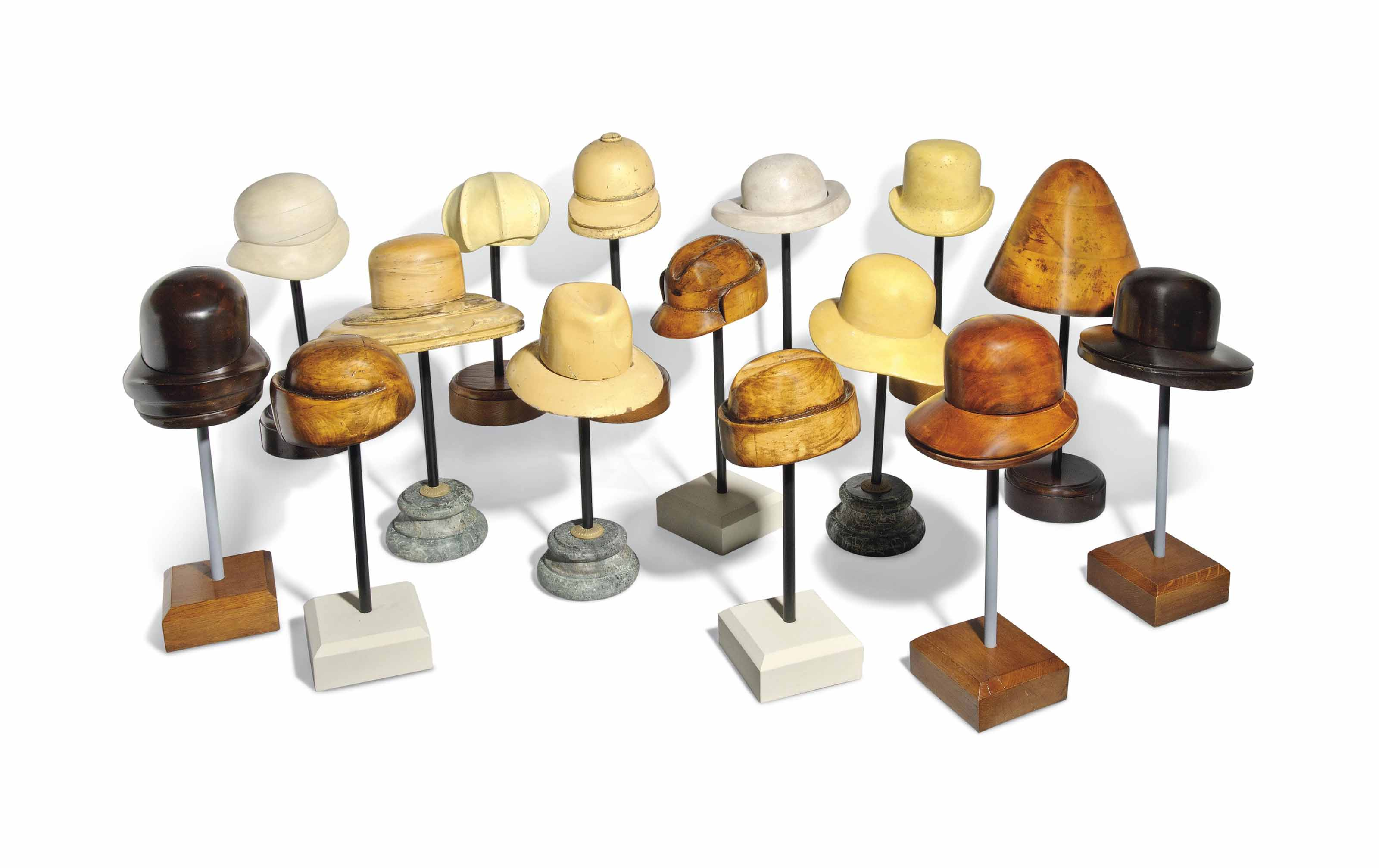 FIFTEEN FRENCH WOOD HATTER'S B
