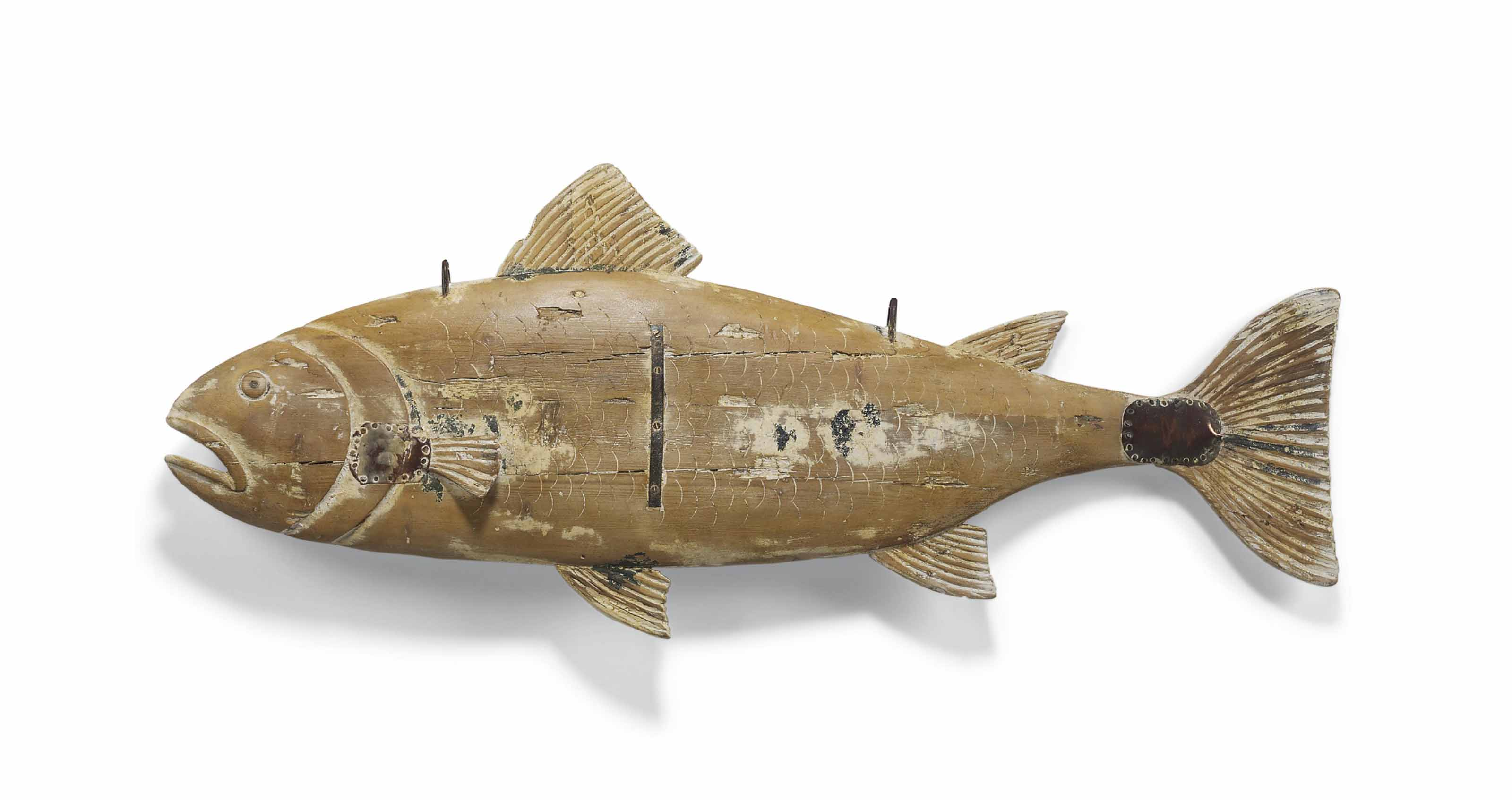 A CARVED PINE FISH SHOP SIGN