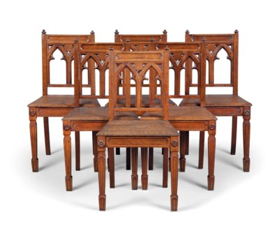 A SET OF SIX VICTORIAN OAK GOT