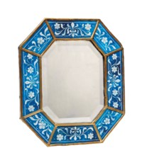 ENAMELLED GLASS, GILT METAL AND WOOD MIRROR ATTRIBUTED TO JAMES POWELL & SONS