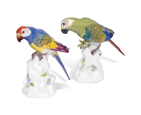 TWO MEISSEN MODELS OF PARROTS