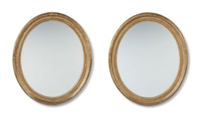 A PAIR OF LARGE OVAL GILTWOOD