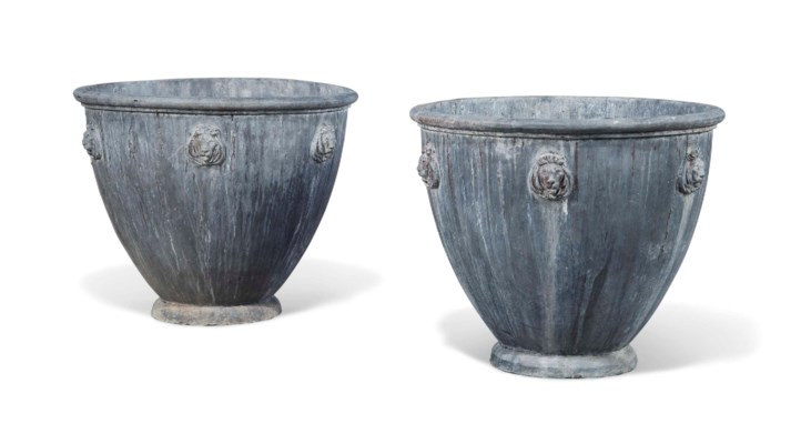 A PAIR OF LEAD PLANTERS WITH L