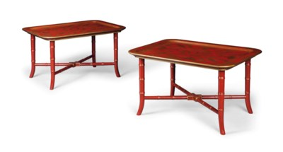 A PAIR OF RED JAPANNED TRAY TA