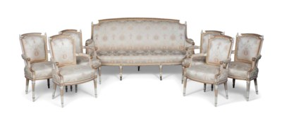 A LOUIS XVI CREAM-PAINTED AND