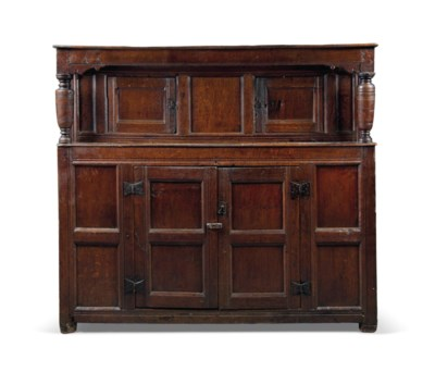 A CHARLES I OAK PANELLED PRESS