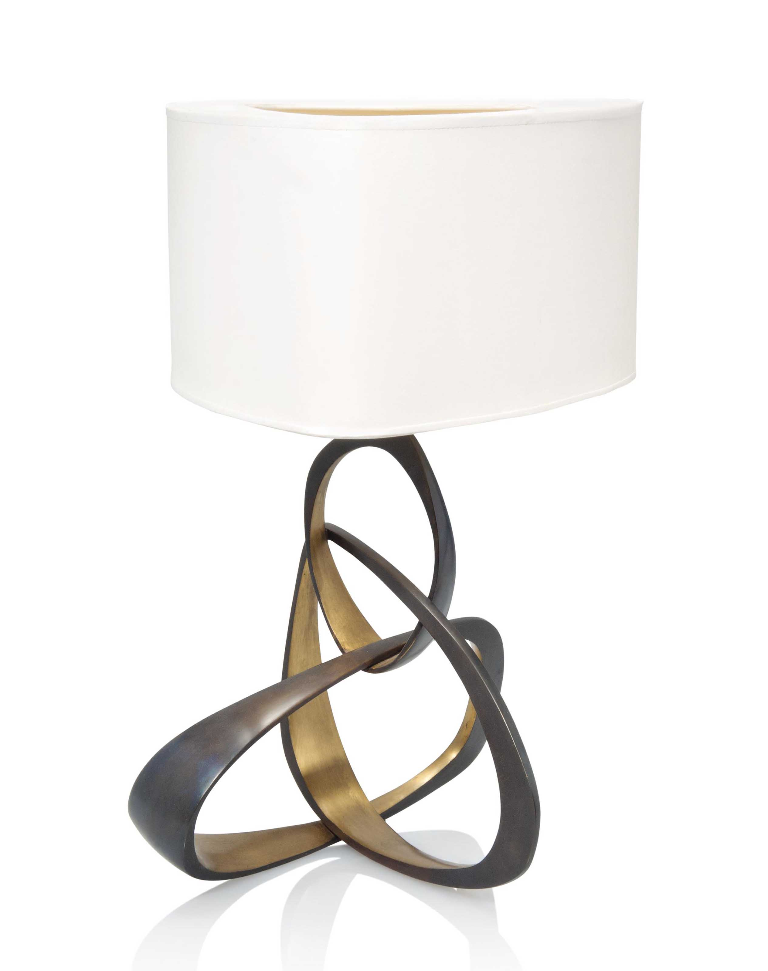 A HERVE VAN DER STRAETEN (B.1965) BLACK AND GOLD PATINATED BRONZE TABLE LAMP WITH SHADE