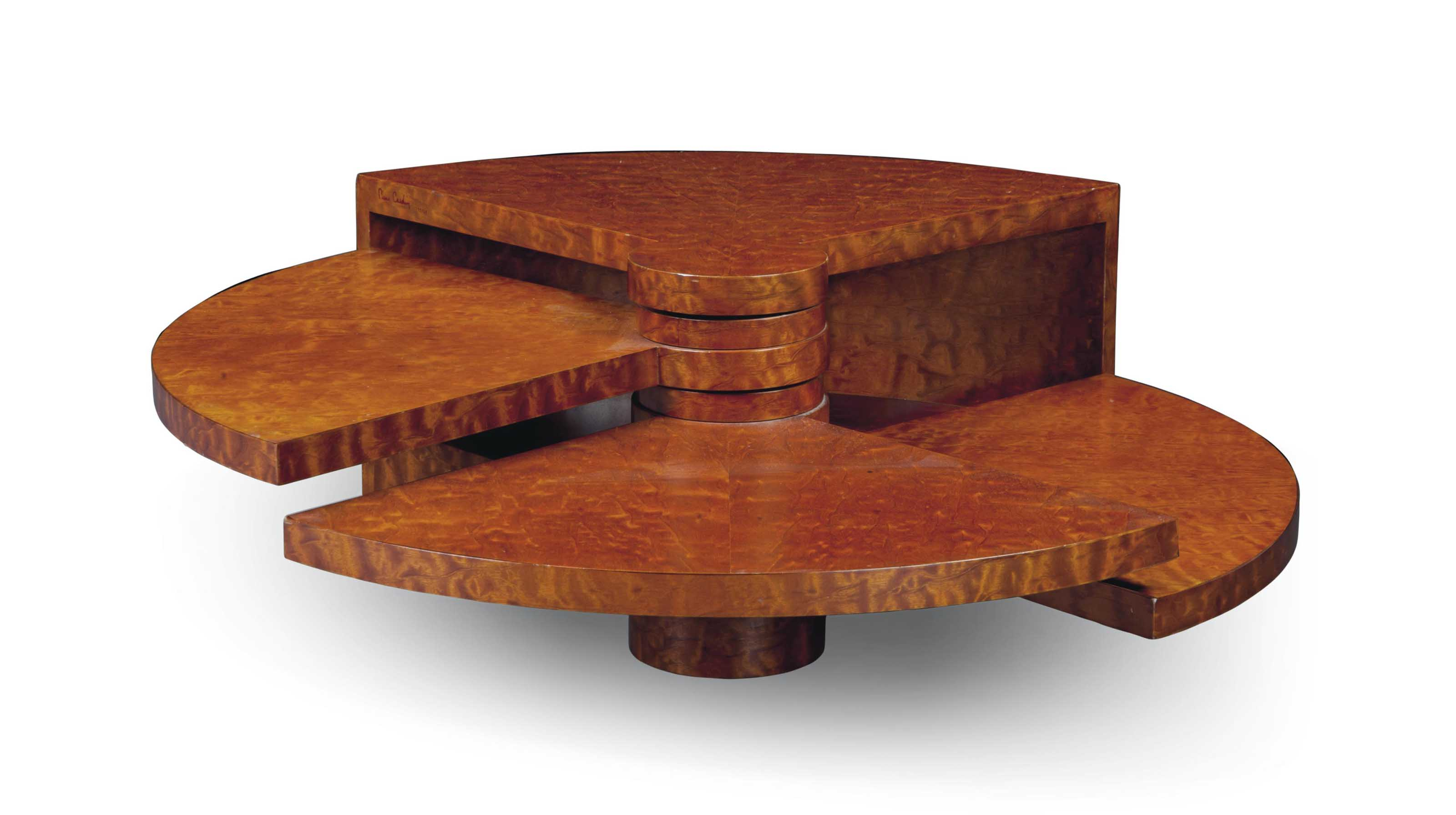 A PIERRE CARDIN (B. 1922) BURLWOOD 'FAN' COFFEE TABLE