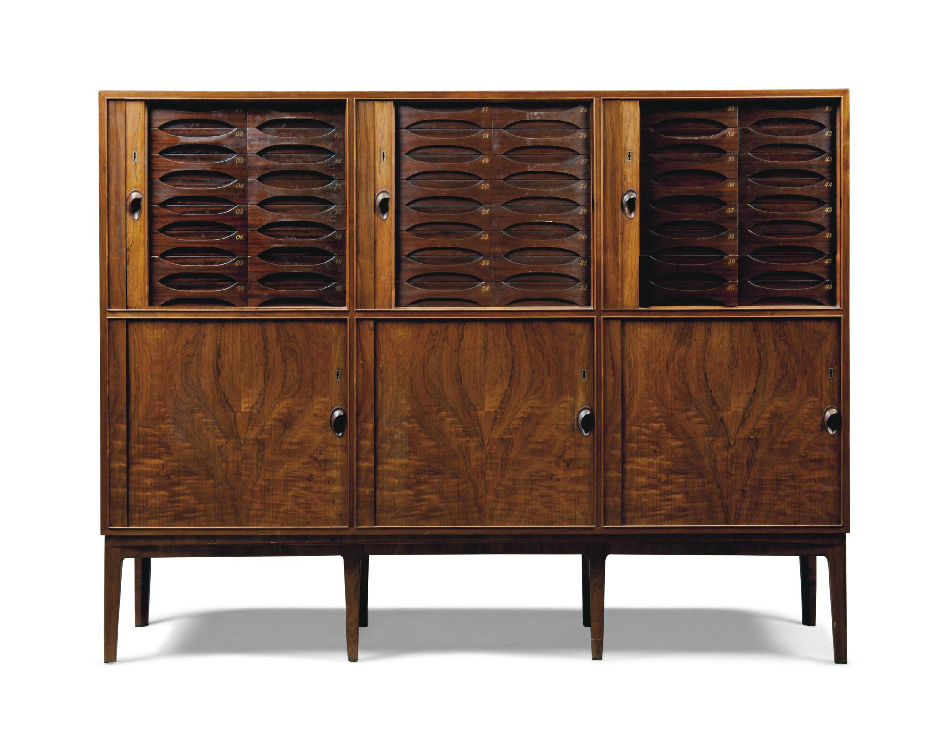 AN OLE WANSCHER (1903-1985), ATTRIBUTED, ROSEWOOD CABINET WITH TAMBOUR SLIDING DOORS