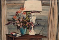 Still life with flowers and a lamp by a window