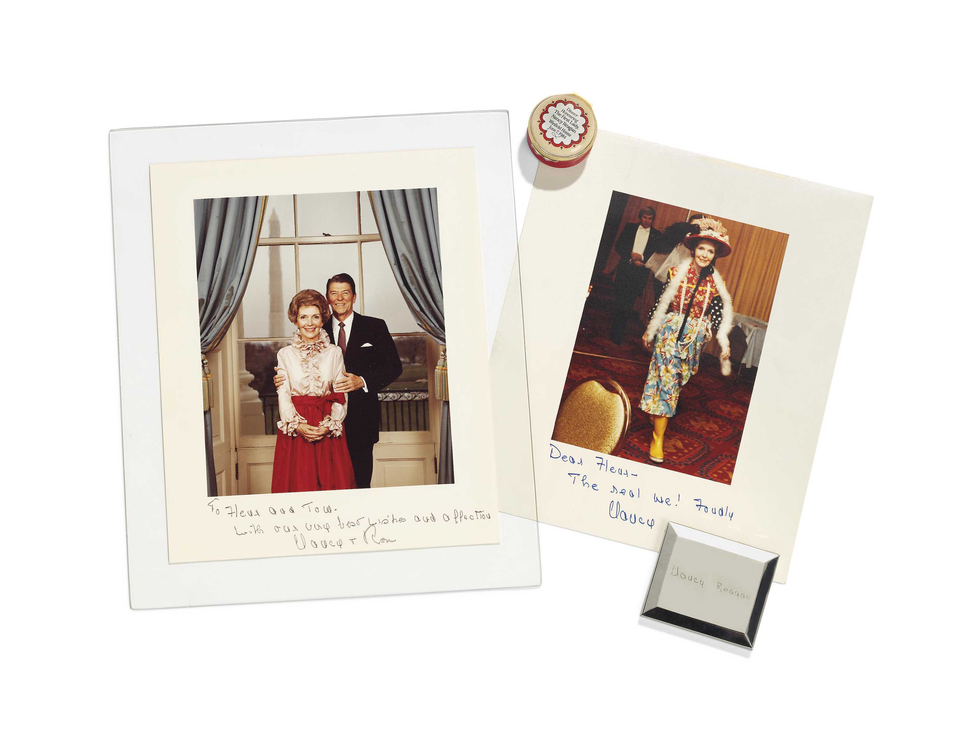 OF RONALD AND NANCY REAGAN INTEREST; TWO PHOTOGRAPHS AND AN AMERICAN SILVERED METAL COMPACT