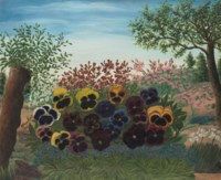 Jardin avec pénsees et giroflées