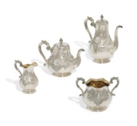 A FOUR-PIECE VICTORIAN SILVER TEA AND COFFEE SERVICE
