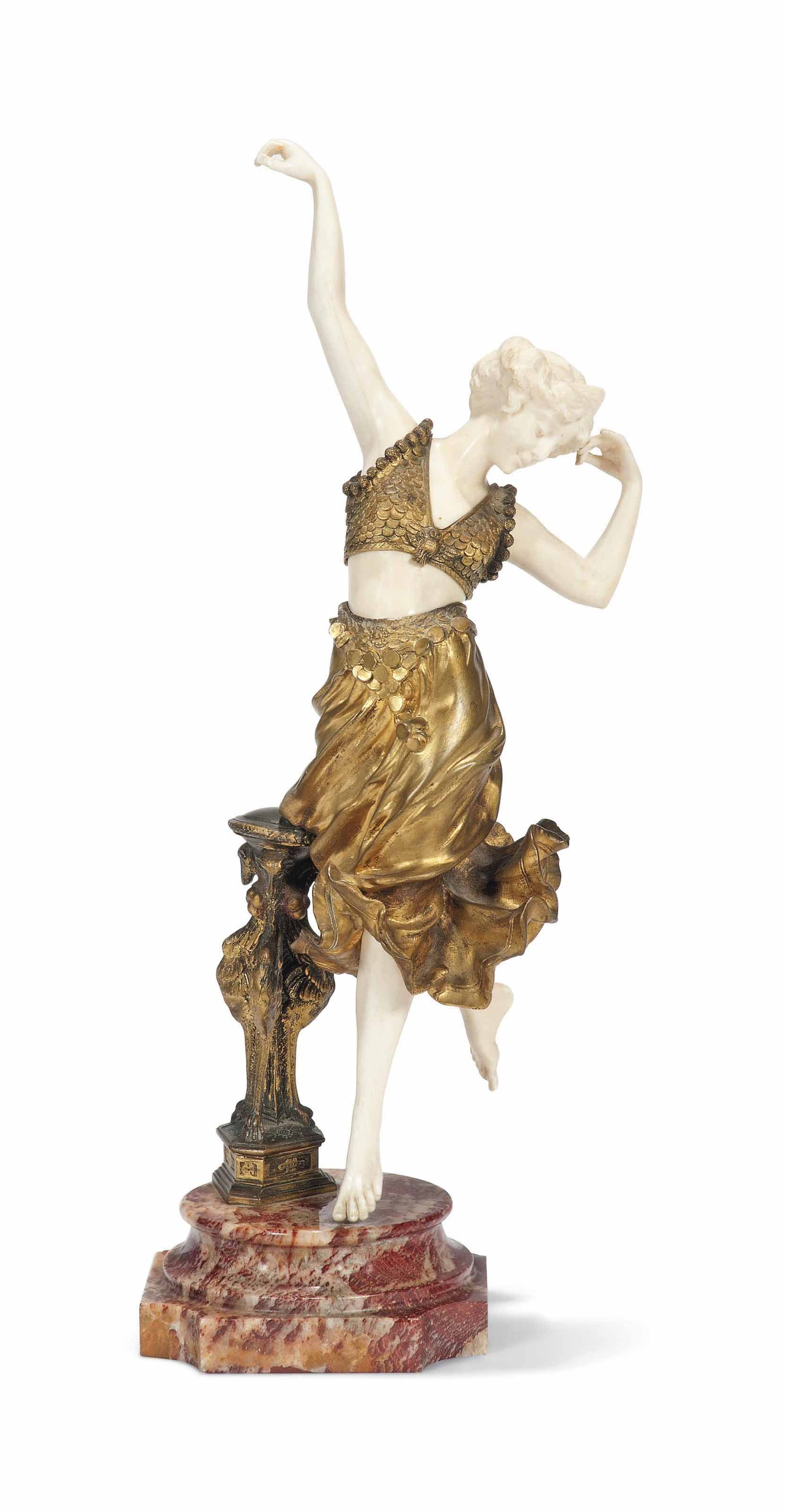 AN AFFORTUNATO GORY (GORI) GILT AND COLD-PAINTED BRONZE AND CARVED IVORY FIGURE