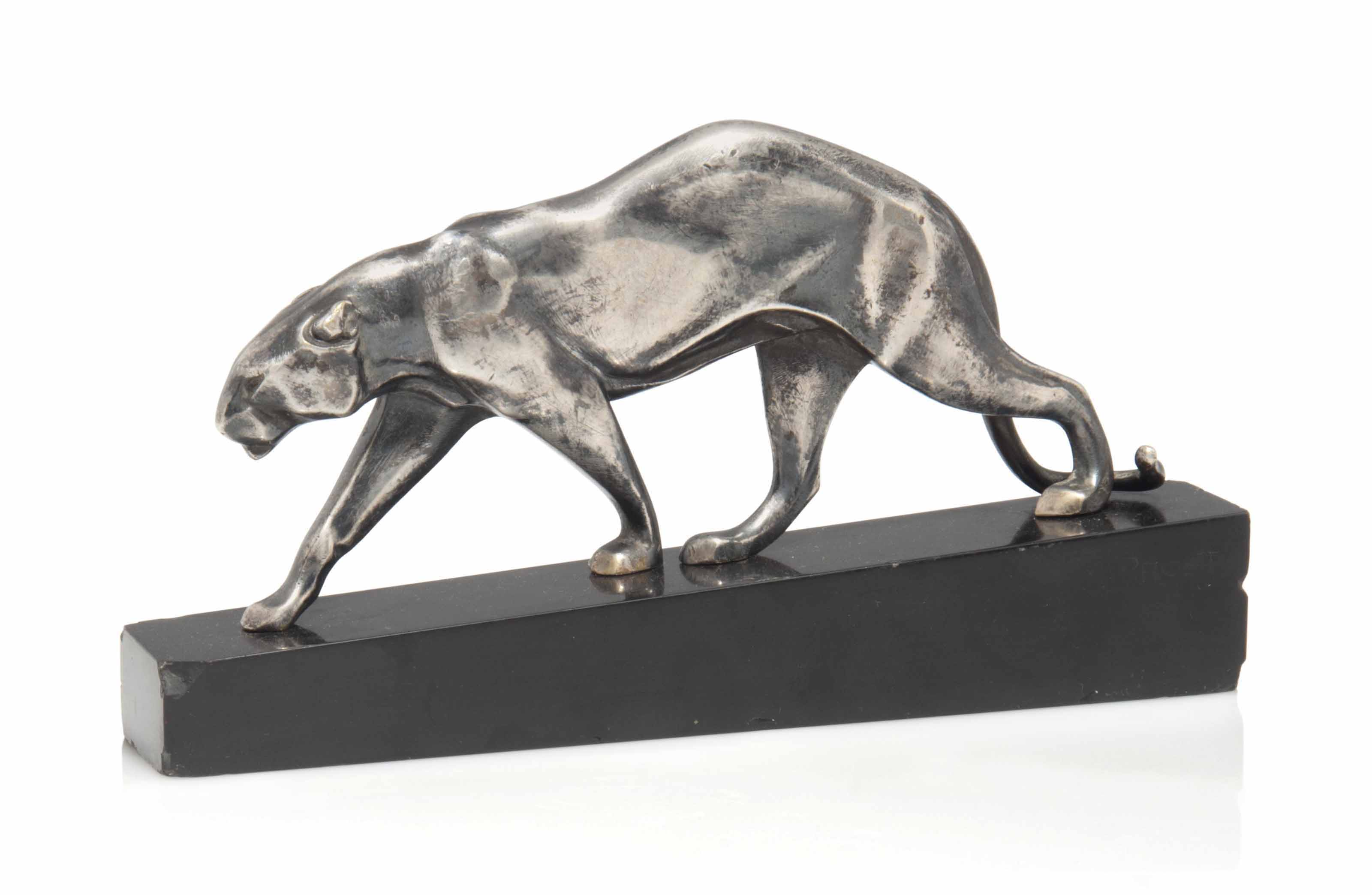 A MAURICE PROST (1894-1967) BRONZE PANTHER MOUNTED ON A SLATE PLINTH