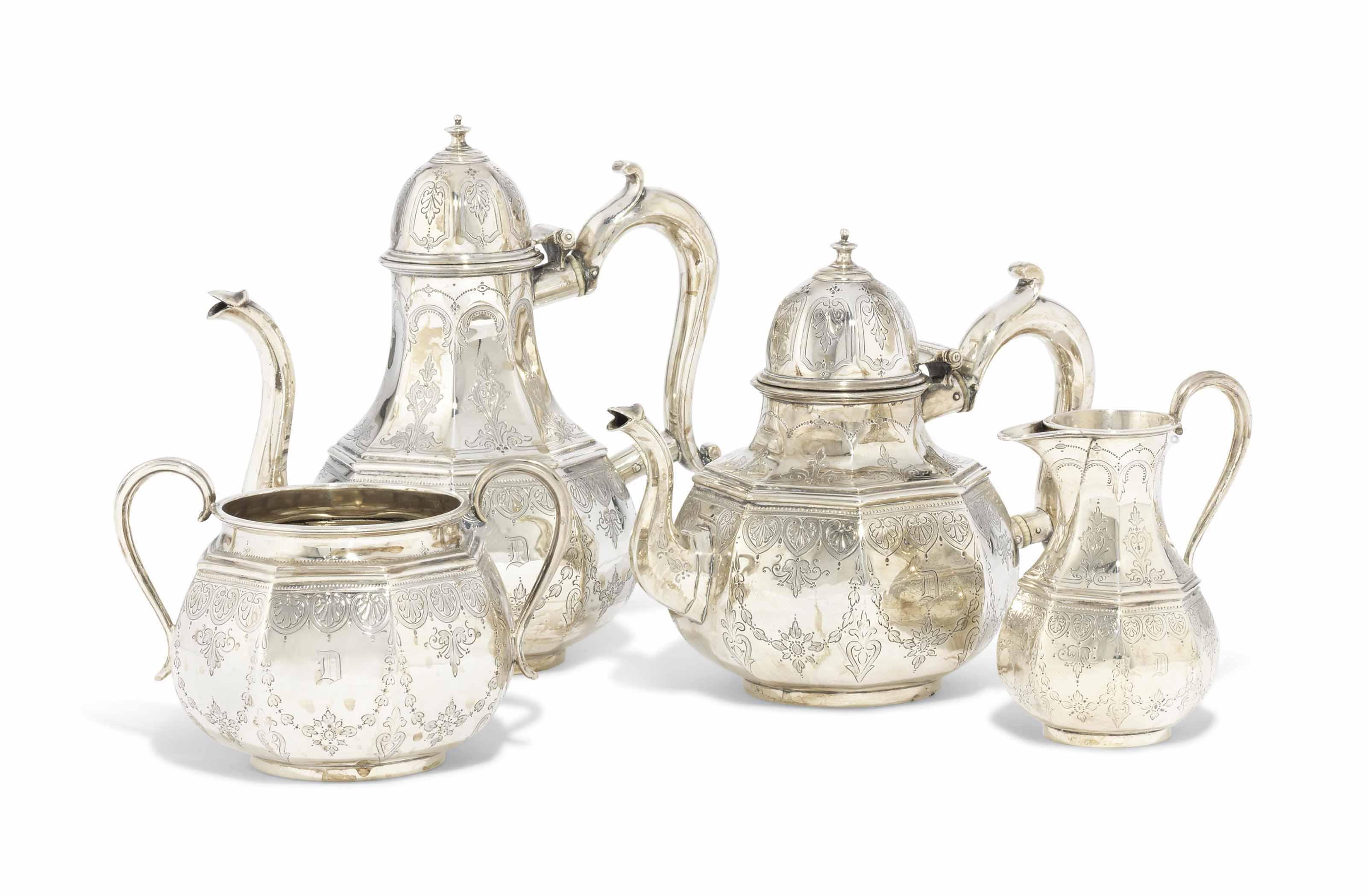 A FOUR-PIECE VICTORIAN SILVER TEA-SERVICE