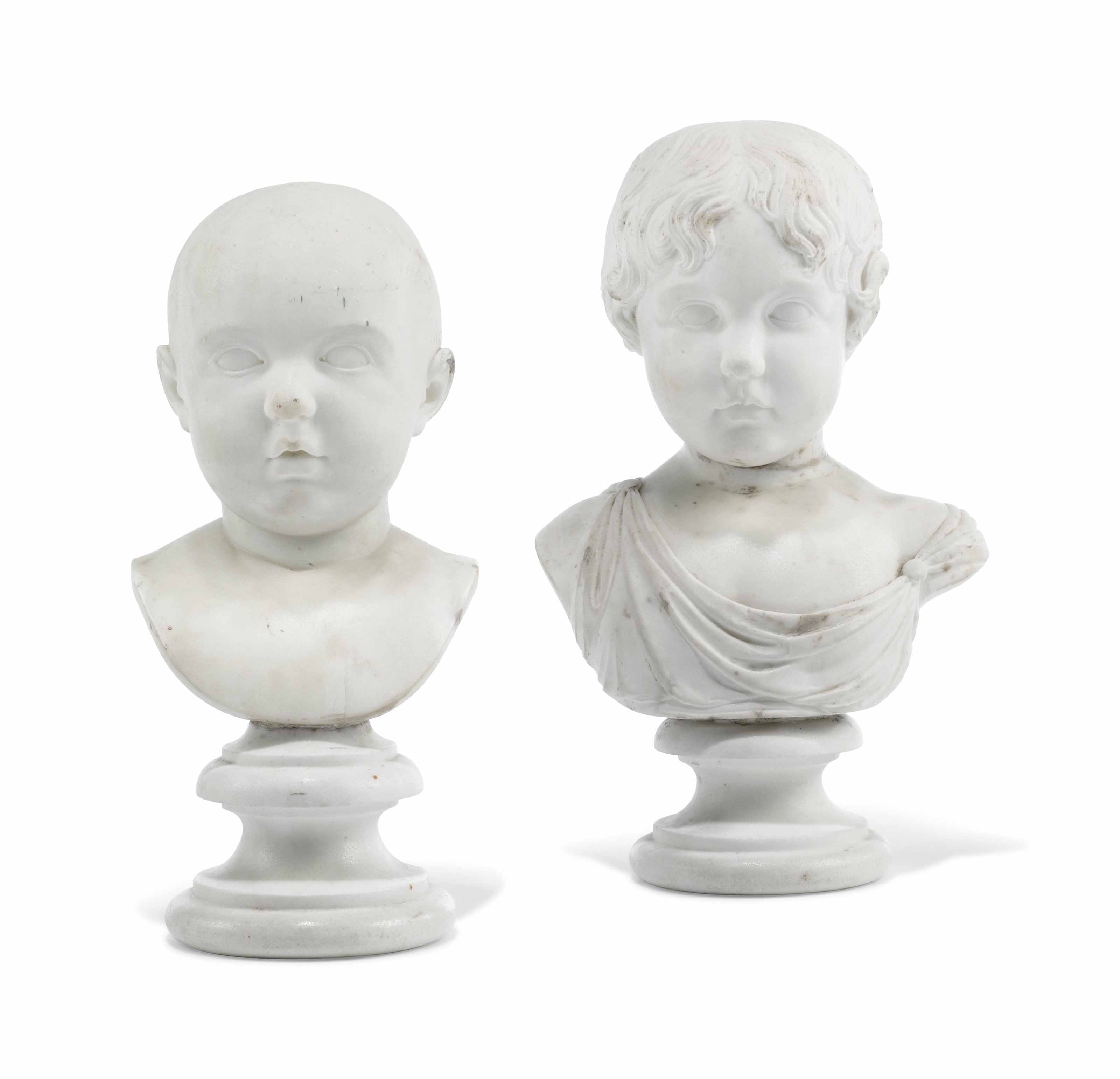 TWO CARVED WHITE MARBLE BUSTS OF ISABELLA AND GEORGE JEROME WATSON TAYLOR